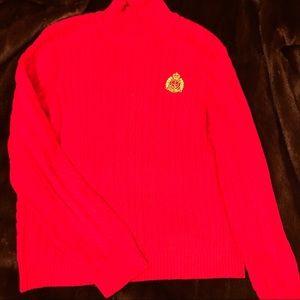 Ralph Lauren red cotton mock turtleneck